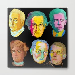 Noam Chomsky & friends (from left to right : barthes, Chomsky, bohr, hume, Heidegger & deleuze)  Metal Print