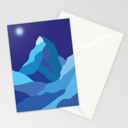 Icy winter Matterhorn mountain in blue colors Stationery Cards