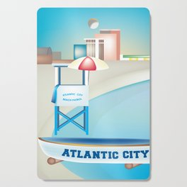 Atlantic City, New Jersey - Skyline Illustration by Loose Petals Cutting Board