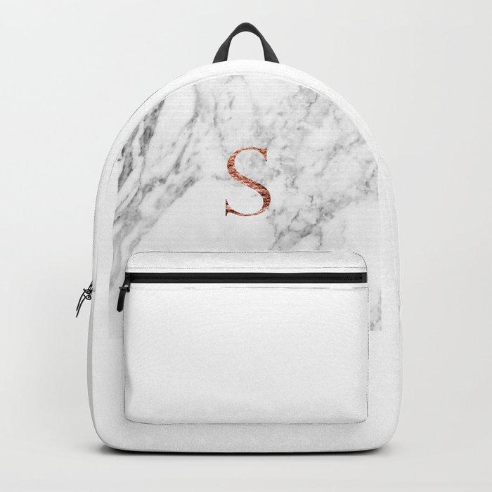 Monogram rose gold marble S Backpack