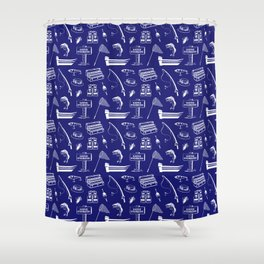Gone Fishing // Midnight Blue Shower Curtain
