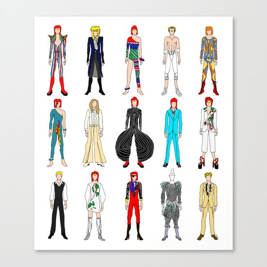 Outfits of Bowie Fashion on White Canvas Print