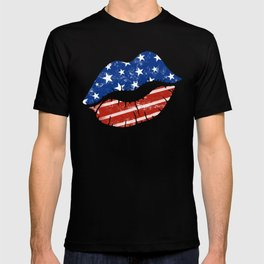 American Patriotic Lips / American Flag Lips / Fourth of July Lips T-shirt