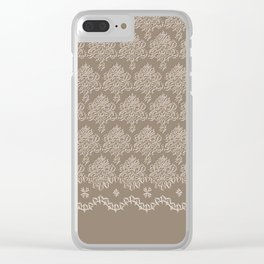 Coffee Color Damask Chenille with Lacy Edge Clear iPhone Case