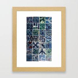 Quilt of a Sort in Blue Framed Art Print