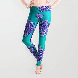Turquoise & Purple Mandala Pattern Leggings