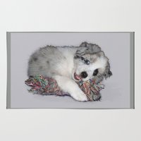 border collie Area & Throw Rugs featuring Collie Puppy, blue merle by HelenMacNee