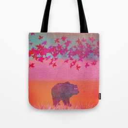 Little bear in the colorful field, leaf, colors, pink, blue, field, grass, bear Tote Bag