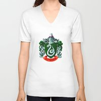 slytherin V-neck T-shirts featuring SLYTHERIN  by Smart Friend