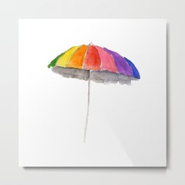 Rainbow Beach Umbrella Metal Print