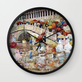 Maurice Brazil Prendergast - Umbrellas In The Rain - Digital Remastered Edition Wall Clock
