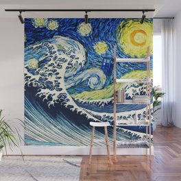 Tardis Flying Wave Night Wall Mural