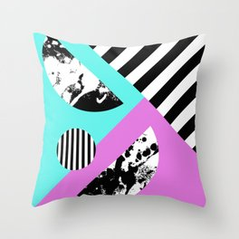 Stripes And Splats 2 - Random, Crazy, Abstract, Geometric, Black And White, Cyan, Pink Artwork Throw Pillow