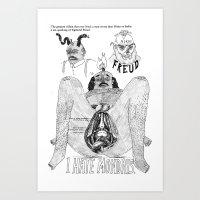 freud Art Prints featuring Freud. by Philip Dearest