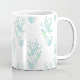 Little Succulent Pattern - Green on White Coffee Mug