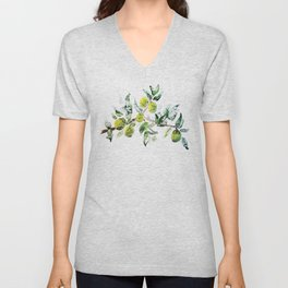 Lime Tree Branch Pattern Watercolor Unisex V-Neck