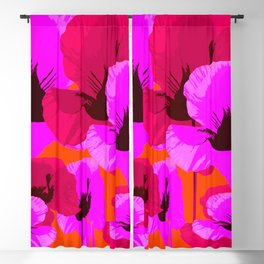 Pink And Red Poppies On A Orange Background - Summer Juicy Color Palette - Retro Mood Blackout Curtain