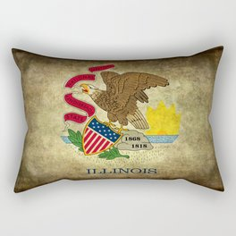 Illinois State flag, vintage on parchment paper Rectangular Pillow