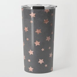 Rose gold Christmas stars geometric pattern grey graphite industrial cement concrete Travel Mug