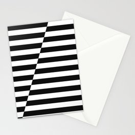 Black and White Offset Stripes Stationery Cards