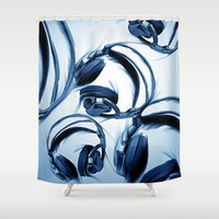 headphones Shower Curtains featuring Headphones (Blue) by darylrbailey