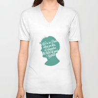 louis tomlinson V-neck T-shirts featuring Louis Tomlinson Silhouette  by Holly Ent