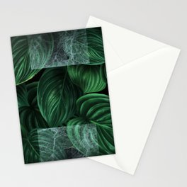 tropical green pattern on black Stationery Cards