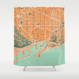 Barcelona city map orange Shower Curtain