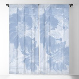 Delicate white butterflies and denim blue flowers in abstract fractal Blackout Curtain