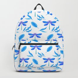 Pretty beautiful blue dragonflies, delicate leaves elegant stylish white nature botanical pattern Backpack