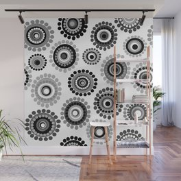 Black and white doodle floral background Wall Mural