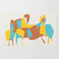 horses Area & Throw Rugs featuring Horses by Pablo Correa
