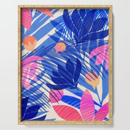 Breezy Tropics / Bright Abstract Floral Print Serving Tray