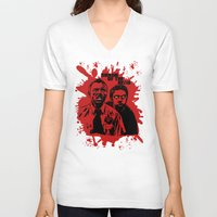 shaun of the dead V-neck T-shirts featuring Shaun of the dead blood splatt  by Buby87