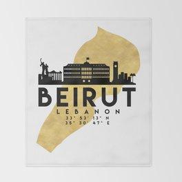 BEIRUT LEBANON SILHOUETTE SKYLINE MAP ART Throw Blanket