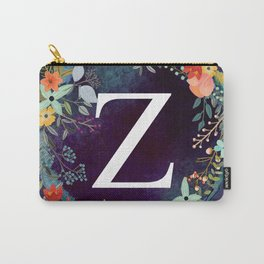 Personalized Monogram Initial Letter Z Floral Wreath Artwork Carry-All Pouch
