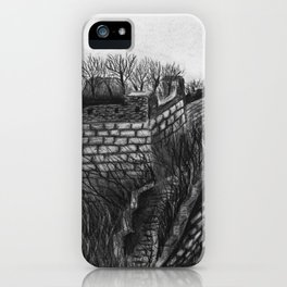 Charcoal landscape drawing - the Great Wall in the wild with dead trees and desolate grass iPhone Case
