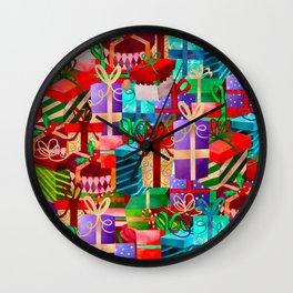 Christmas Presents Galore - Bright Neon Christmas Gift Pattern Wall Clock