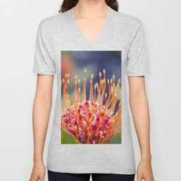 Tropical Sunburst - Leucospermum Pincushion Protea Flower Unisex V-Neck