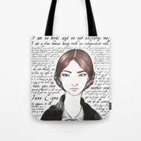 jane eyre Tote Bags featuring Jane Eyre by Makissima