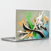 grafitti Laptop & iPad Skins featuring Extra grafitti 3d abstract design by sleepwalkerMTS