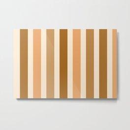 Brown and Beige Stripes Metal Print