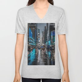 Spectacular Busy New York Manhattan City Street Blue Hue HD Unisex V-Neck