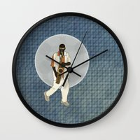 saxophone Wall Clocks featuring Saxophone Musician by Aquamarine Studio