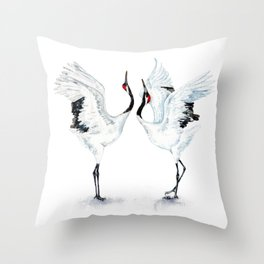 Dancing Japanese Red-crowned crane Throw Pillow