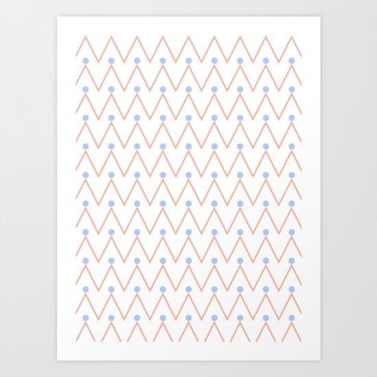 Chevron and dots 2 Art Print