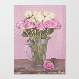 Vintage Candy Pink Roses in a Glass Jug Canvas Print