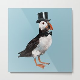 Gentleman Puffin with Bow Metal Print