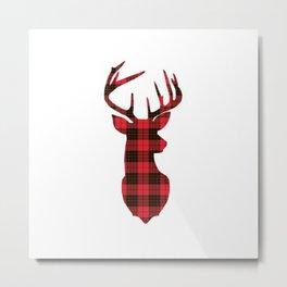 Plaid Red Deer Metal Print