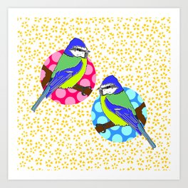 Blue Tits on White and Mustard Yellow Floral Pattern Art Print